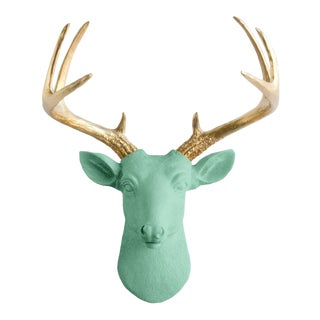 Wall Charmers Mint & Gold Faux Taxidermy Mini Deer Head Mount For Sale