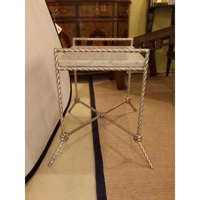 Hollywood Regency Twisted Silver Gilt Metal Bench or Side Table For Sale - Image 3 of 6