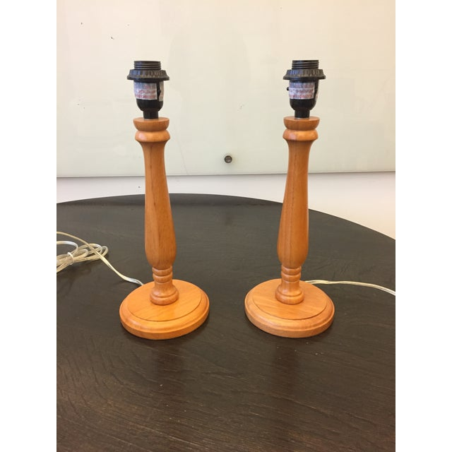 Americana Wooden Table Lamps With Vintage Lamp Shades - a Pair For Sale - Image 4 of 6