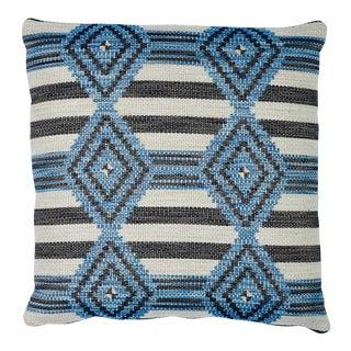 Schumacher Manta Performance Pillow in Blue For Sale
