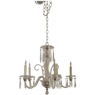 Vintage 1930s 5-Light Crystal Chandelier For Sale
