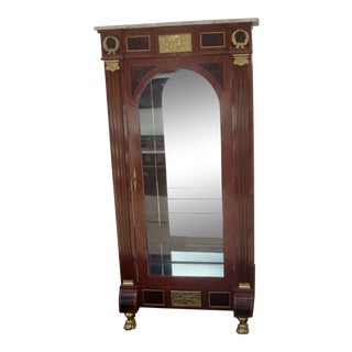 1970's French Style Vitrine Display Cabinet / Curio / With Marble Top For Sale