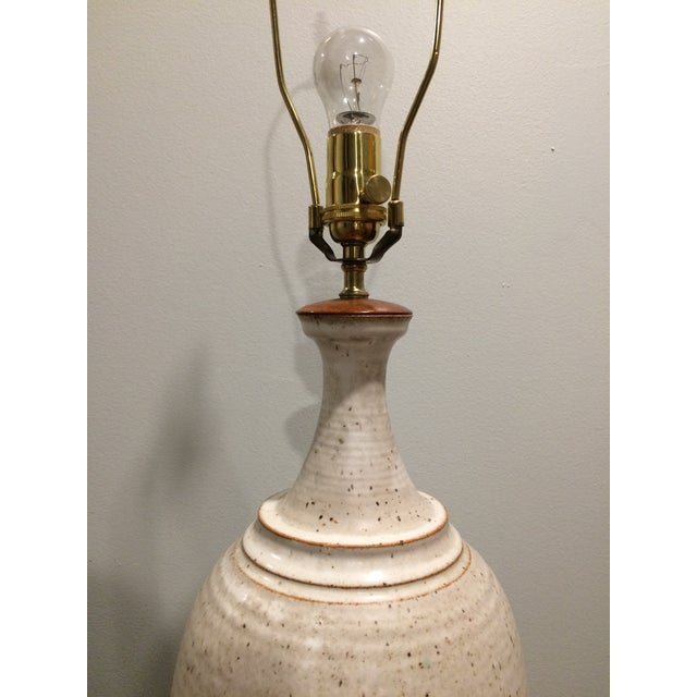 Danish Modern Speckled Eggshell Glazed Danish Pottery Lamp For Sale - Image 3 of 8