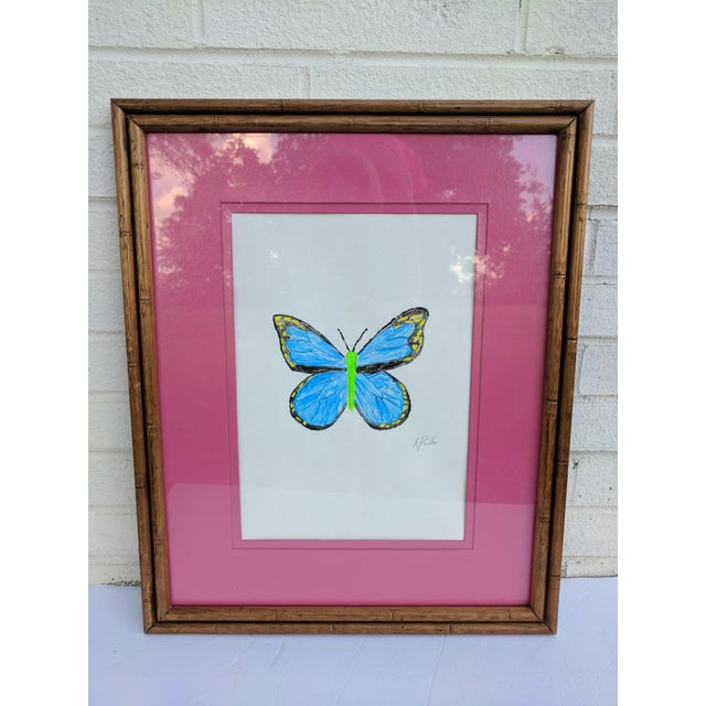 Acrylic Butterfly Painting Framed in a Faux Bamboo Wooden Frame and Matted in a Magenta Pink Matting Signed by the artist
