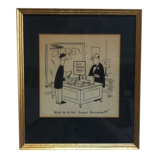 """Circa 1950 """"What - No Al Akl's Surgical Technigrams ???"""" Matted Cartoon Print by Carl Thomas, Framed For Sale"""