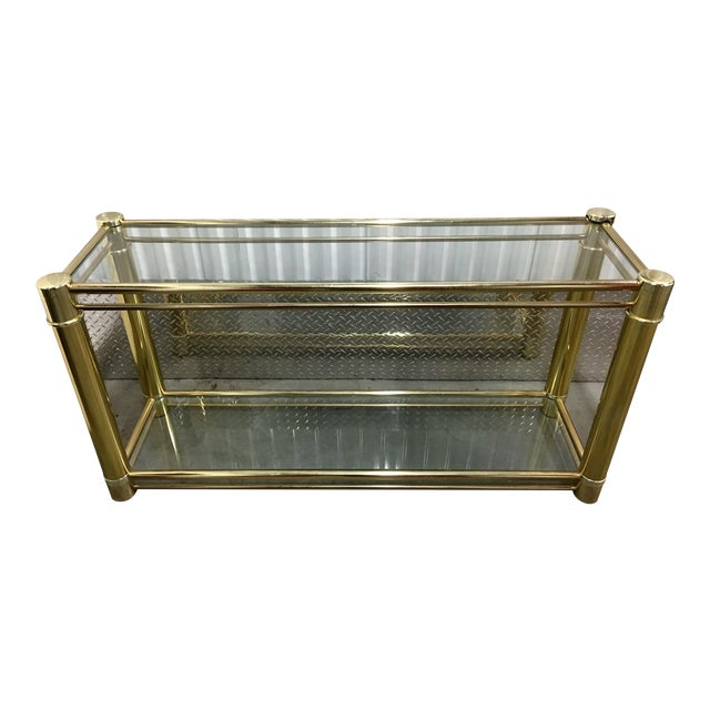 Brass Frame Double-Tier Glass Console Table - Image 1 of 6