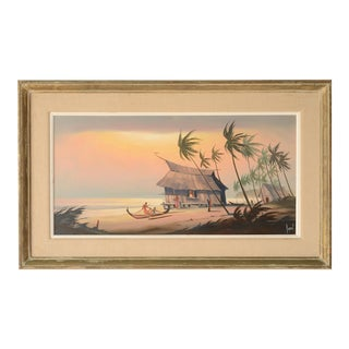 Mid 20th Century Polynesian Landscape Painting by Alfred Dupont, Framed For Sale