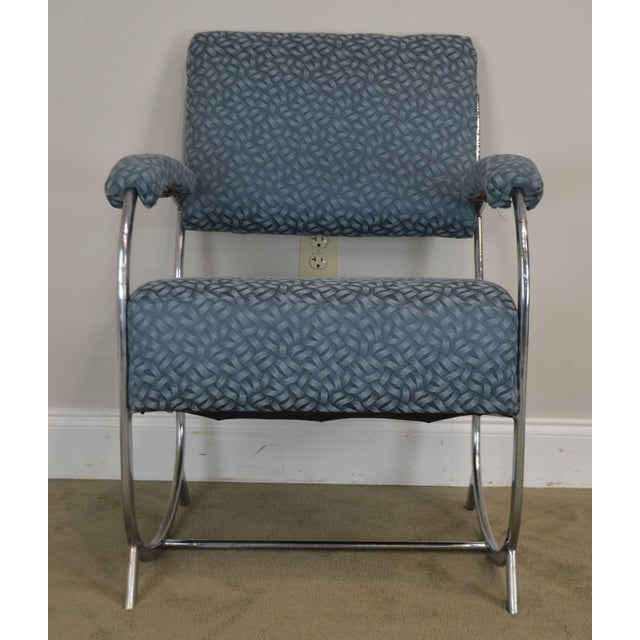 Art Deco Vintage Chrome Frame Pair of Armchairs For Sale - Image 11 of 13