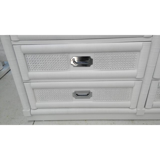 Dixie Lacquered Campaign Wicker Weve Dresser For Sale - Image 7 of 10