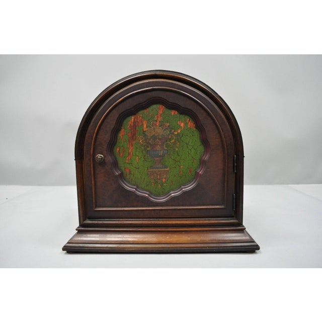 Antique Depression Walnut & Green Floral Paint Decorated Cabinet Jewelry Chest For Sale - Image 12 of 12