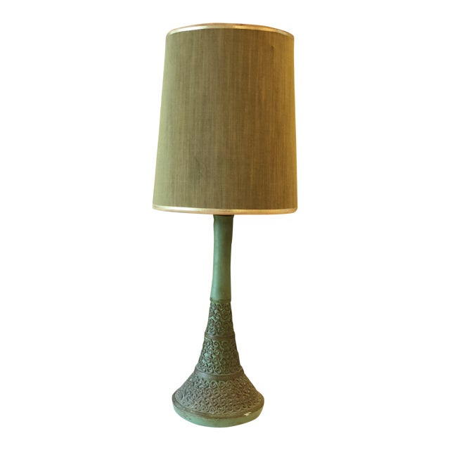 Vintage Green Plasto Ceramic Lamp For Sale