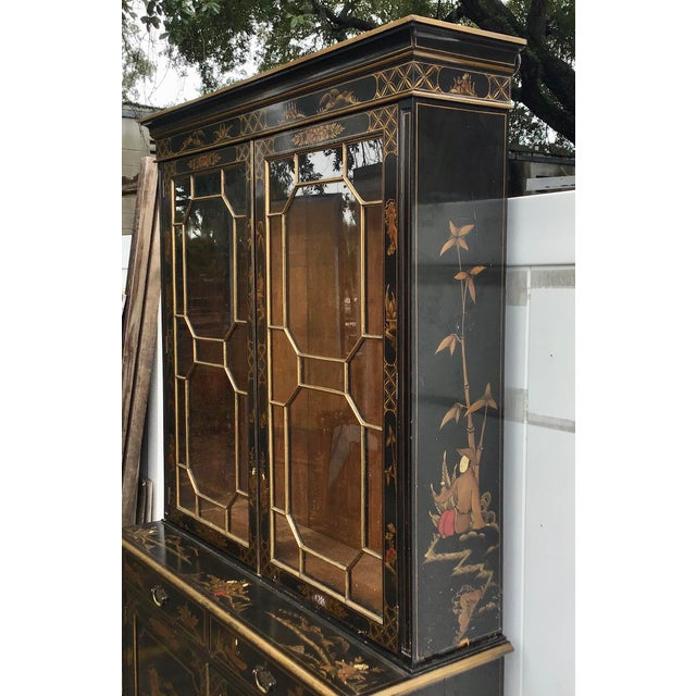 Black 19th Century Chippendale Chinoiserie Bookcase Cabinet For Sale - Image 8 of 13