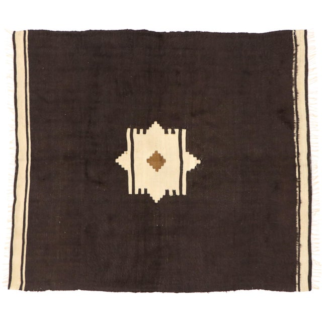 Coffee Vintage Turkish Angora Blanket Rug - 04'00 X 04'06 For Sale - Image 8 of 9