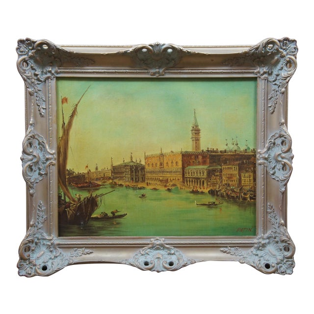 Vintage 20th Century Venice Italy Patin Impressionist Cityscape Oil Painting For Sale