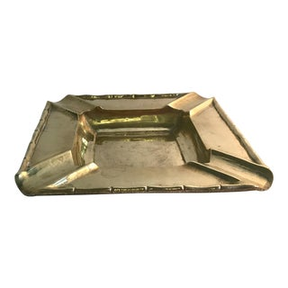 Mid-Century Brass Ashtray With Faux Bamboo Details For Sale
