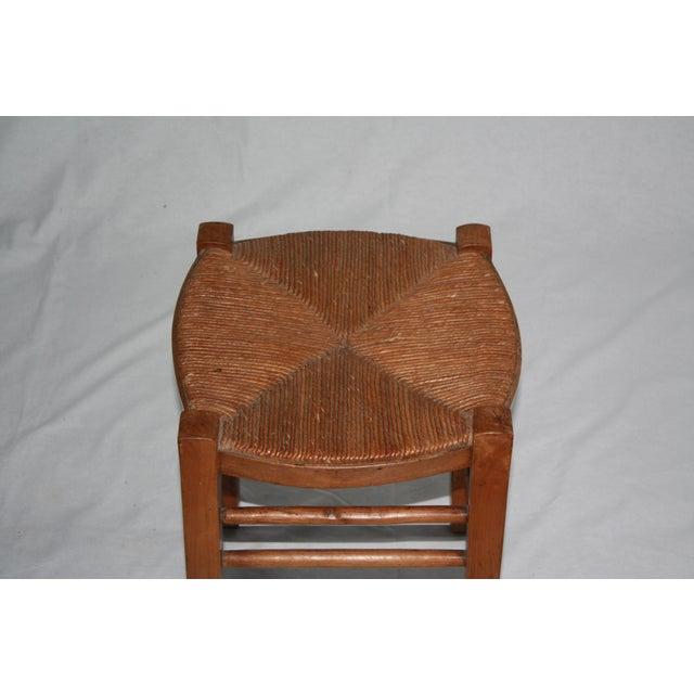 Vintage French Rush Seat Farm Stool - Image 4 of 4