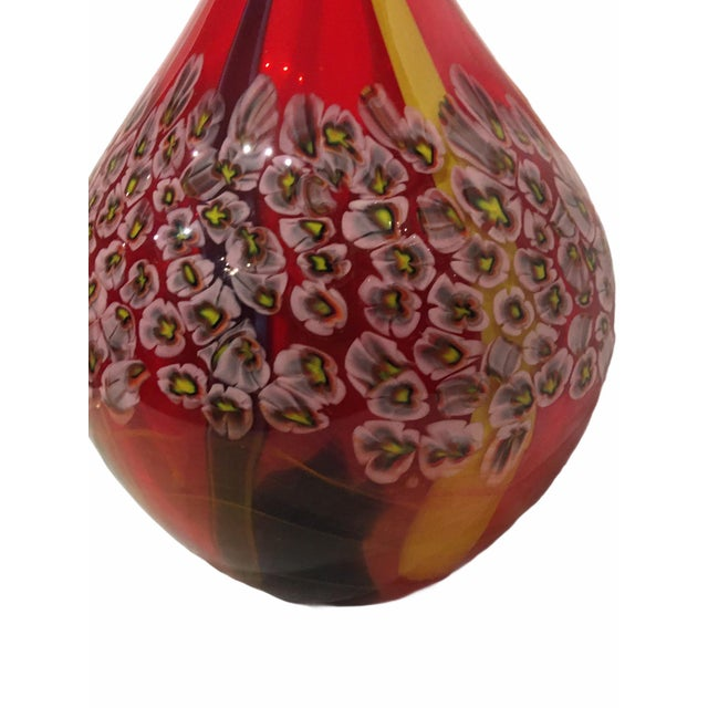 Vintage Red Yellow Pink Flower Italian Murano Art Glass Vase For Sale - Image 4 of 6