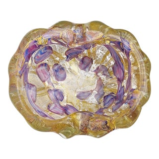 Barovier Toso Murano Gold Flecks Purple Blue Spots Italian Mid Century Art Glass Bowl Ashtray For Sale