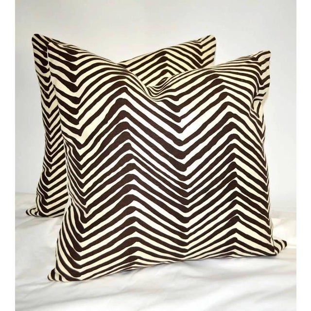 China Seas Quadrille Brown and Ivory Printed Pillows- a Pair For Sale In New York - Image 6 of 6
