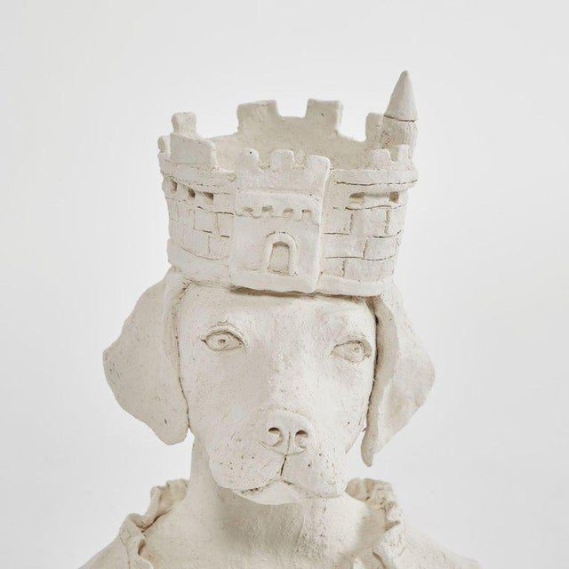 Shabby Chic Dog With Crown Sculpture in Plaster For Sale - Image 3 of 5