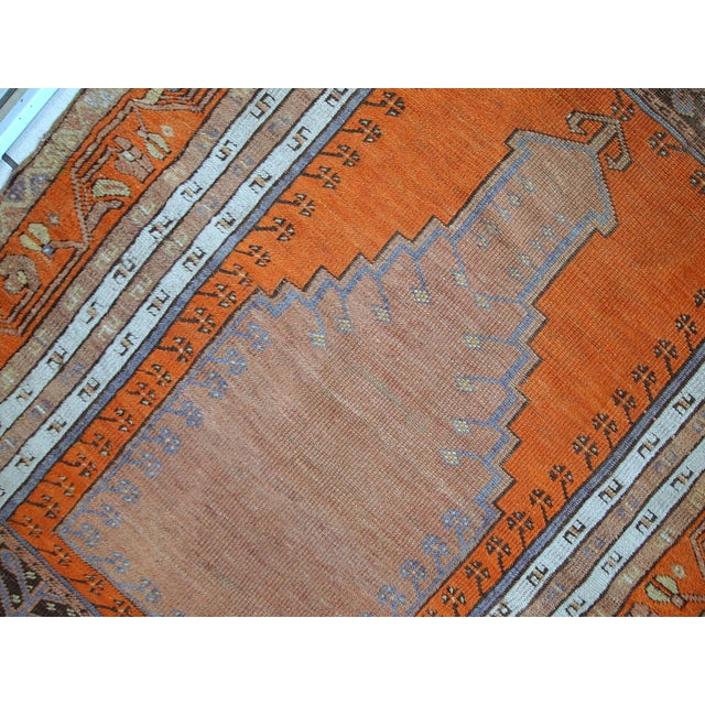 Textile 1940s Hand Made Antique Turkish Anatolian Prayer Rug - 3′3″ × 4′7″ For Sale - Image 7 of 10