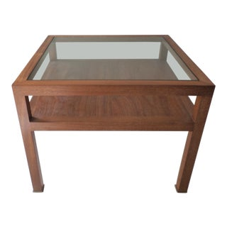 """1990s Contemporary Mirak """"Oxyde"""" Mahogany End Table For Sale"""