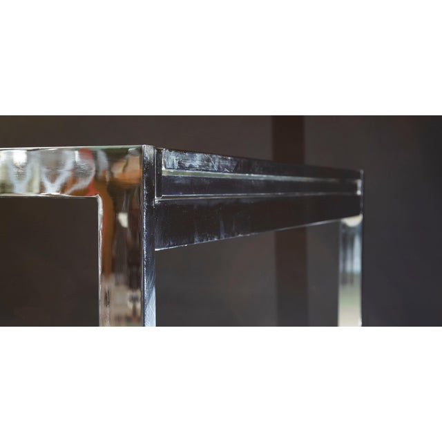 1950s Modern Milo Baughman Nickel Plated Glass Expansion Table For Sale In Chicago - Image 6 of 10