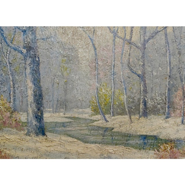 William Krullaars -Winter Solitude by the Creek Landscape - Oil Painting-C1900s For Sale - Image 4 of 10