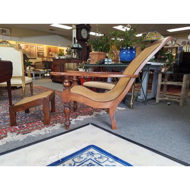 Teak Plantation Chair & Ottoman For Sale - Image 10 of 11