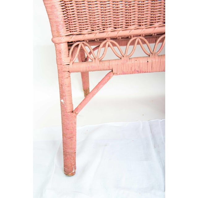 1950s Boho Chic Pink Rattan Settee or Love Seat For Sale - Image 9 of 11