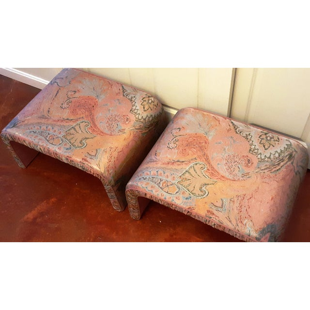 Textile Waterfall Benches- a Pair For Sale - Image 7 of 13