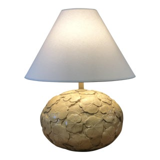"Neutral Hand Made Ceramic ""Lilly Pad"" Lamp For Sale"