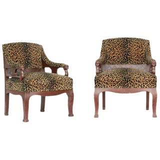 Empire Style Leopard Print Covering Chair - A Pair For Sale