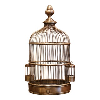 Early 20th Century French Napoleon III Brass Birdcage With Zinc Removable Tray For Sale