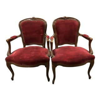 19th Century Louis XVI Red Velvet Chairs - a Pair