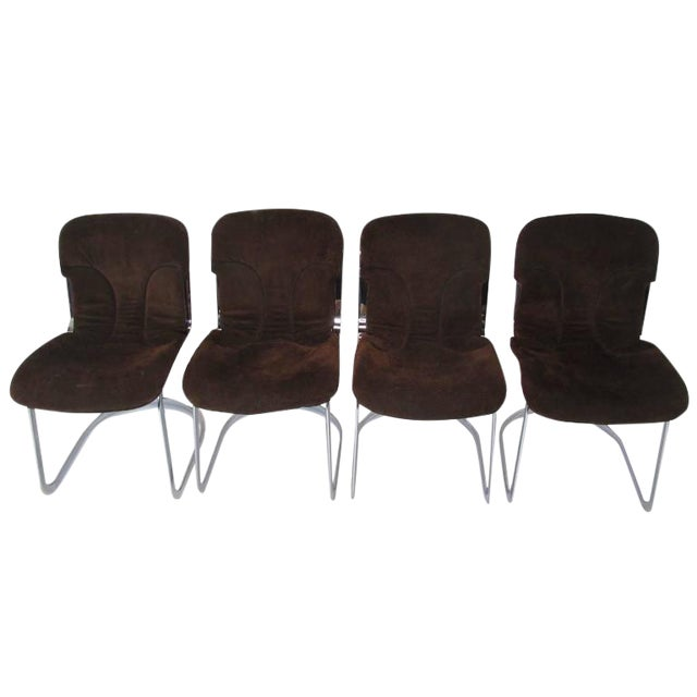 Cidue Cantilever Chrome Amp Brown Suede Dining Chairs Set