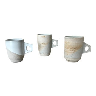 Retro Modern Stoneware Mugs - Set of 3 For Sale
