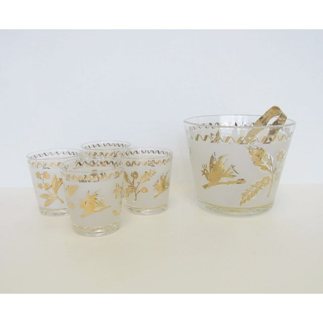 Vintage Gold Leaf Ice Bucket and 4 Rocks Glasses - Image 4 of 5