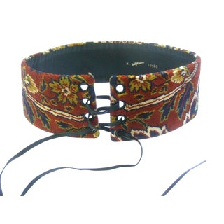 Saks Fifth Avenue Wide Cloth Tapestry Floral Lace Up Belt C 1970s For Sale