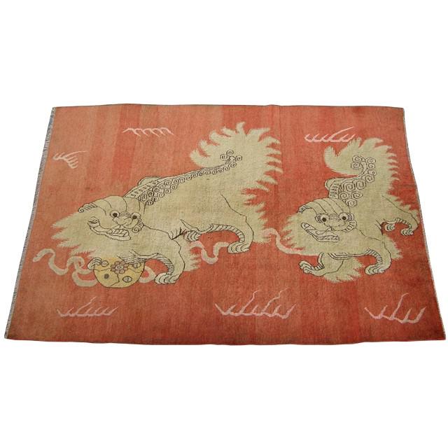 Early 20th Century Antique Samarkand Khotan Handmade Rug - 5′7″ × 8′3″ For Sale