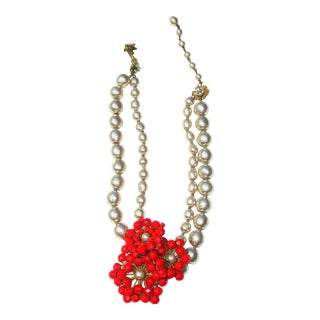 Miriam Haskell Faux Grey Pearl and Red Bead Floral Necklace For Sale