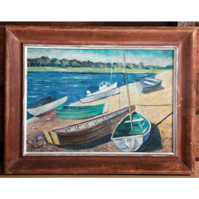 Vintage Impressionist Oil Painting of Sailboats on Kennebunk Maine Beach - Image 2 of 5