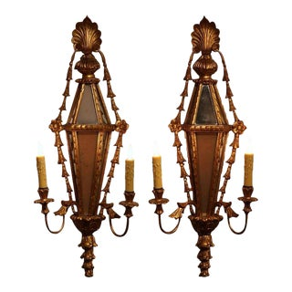 19th Century French Louis XVI Gilt & Mirrored 2-Light Carved Sconces - a Pair For Sale