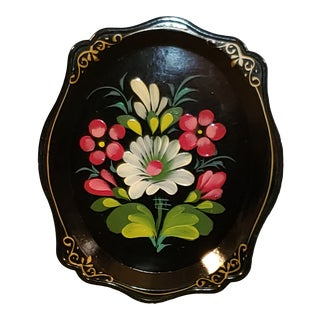 Mid 20th Century Russian Beriozka Hand Painted Serving Tray Flowers Tole Toleware Yeha 64 For Sale