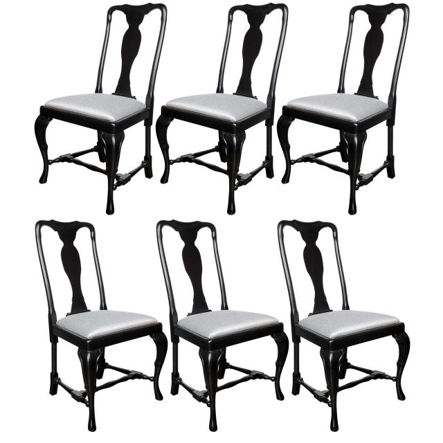 Set of Mid-Century Dining Chairs with Cabriole Detailing by Jansen For Sale - Image 9 of 9