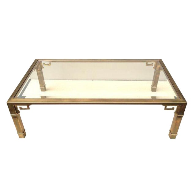 Mastercraft Brass and Glass Cocktail Table - Image 1 of 6