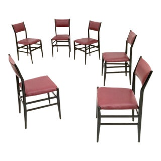"Set of Six Burgundy ""Leggera"" Chairs by Gio Ponti for Cassina, Italy, 1950s For Sale"