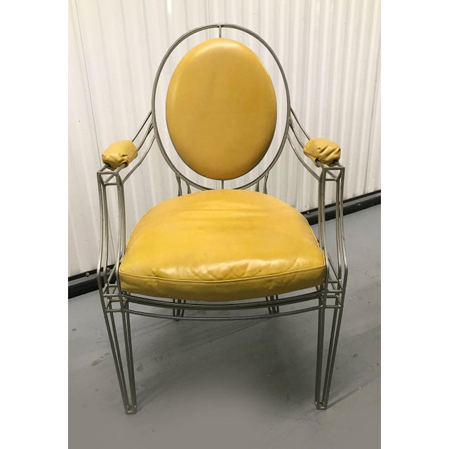 2000 - 2009 Casamidy Leather and Iron 'Opera' Armchairs - Set of 4 For Sale - Image 5 of 10