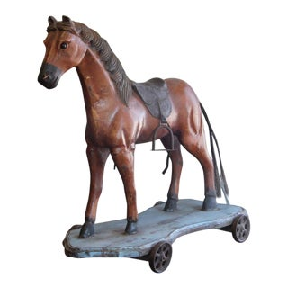 Vintage Toy Horse on Wheels For Sale