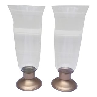 Heavy Metal Hollywood Regency Hurricane Lamps - A Pair For Sale